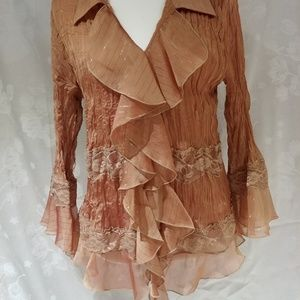 Jaipur Ruffles and Lace, Sheer, Button Up Shirt. L